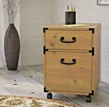 Wood Filing Cabinet 2 Drawer Vertical wheels mobile pedestal metal accents