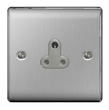 BG Nexus Metal NBS29G - STAINLESS STEEL 5 Amp 5A Single Plug Socket Brushed