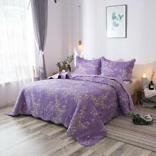 Printed Floral Pattern Quilted Comforter Bedspread Quilt Coverlet Bedding Set Us