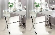 (PAIR) BARCELONA Mirrored Bedside tables with Chrome Stands - Mirrored Furniture