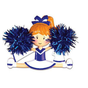 Cheerleader Blue Personalized Christmas Tree Ornament