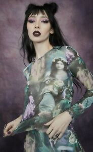 Dolls Kill Widow Ink And Feather Victorian Print Mesh Top T-shirt Tee XXL
