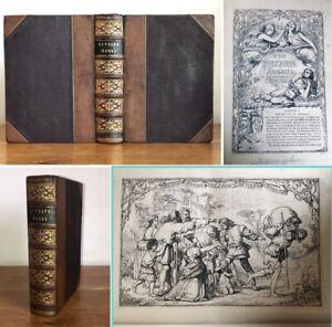 Antique c1850s John Bunyan's The Pilgrims Progress Leather illustrated