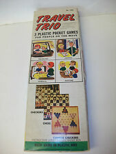 Vintage Travel Trio Pocket Games Chess Checkers & Chinese Checkers ~ Boxed