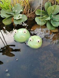 Keramik Schwimmfrösche Frosch  Teich Brunnen Bachlauf Teichdeko Miniteich