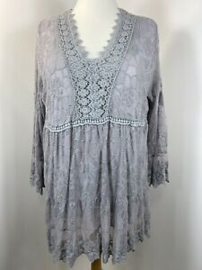 Lace Kaftan Tunic Top Grey Lace Overlay Long Stretchy Plus Size 16 18 20 22 NEW