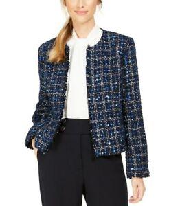 Calvin Klein Tweed Blazer Jacket Open Front Collarless Frayed Edges Sz 4 Petite