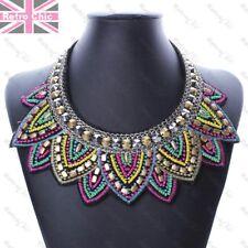BIG BEADED TRIBAL COLLAR necklace BLACK MULTI brass/silver STATEMENT choker bib