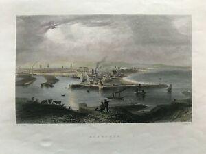1840 Antique Print; Aberdeen, Scotland after Bartlett