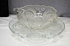 Vintage L E Smith Punch Bowl Set - Pinwheels & Stars - NO CUPS (L2602)