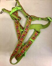Large Green and Pink Flower Print Dog Harness