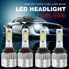 9005 9006 4PCS LED PHILIPS 400W 40000LM Combo Headlight 6000K White Kit Bulbs