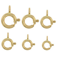 14K Solid Yellow Gold Spring Ring Clasp Round Open Jump Ring 4.5mm - 8mm 1 Piece