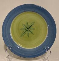 """Three Pottery Barn ALLEGRA Dinner Plates Set Of 3 Avocado Green & Blue 11"""""""