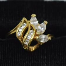Gold Plated Sterling Silver Synthetic Stones Ring Size 7.5