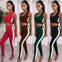 New Women Sport Gym Yoga 2Pcs Vest Bra Sports Legging Pants Outfit Wear Set UK