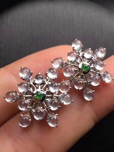 Certified 18K WG 玻璃种 Translucent Jadeite Earrings - Charming & Bling