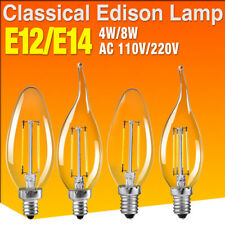E12 E14 Filament LED Light Candle/Flame Bulb Chandelier Lamps Replacement 2C81
