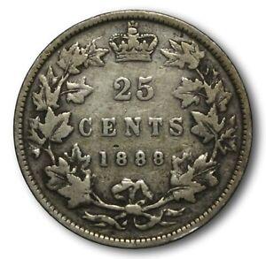 Nice 1888 Canada Twenty Five Victoria Silver Quarter Coin 25 Cents .925