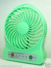 Portable Mini Rechargeable LED Light 4 Blade Fan With Battery & USB Cable-Green