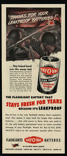 1944 WWII Soldiers Blow Up Axis Tank With Bazooka - Ray-O-Vac Battery VINTAGE AD