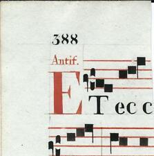 Manoscritto antico CAPOLETTERA E in rosso ANTIFONARIO MUSICA 1850 ca. Drop Cap