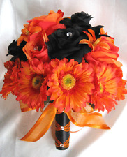 Wedding Bouquet Bridal Silk flowers Decoration BLACK ORANGE DAISY LILY 17 pc pkg