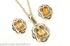 9ct Gold Citrine Pendant and Earring Set Celtic Made in UK Gift Boxed