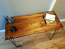100x45cm Handmade Solid Wood Desk Featuring Industrial Steel Hairpin Legs