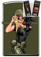 Zippo 221 Soldier Girl Holding Gun Lighter with *FLINT & WICK GIFT SET*
