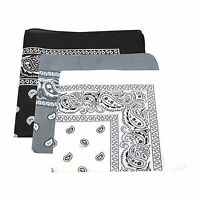 3 x Paisley Pattern Bandana Head Neck Scarf Black & White & Grey UK seller