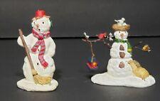 LEMAX Christmas Village Snowman 2 PIECE SET Broom BIRD SEED Feed Nest Porcelain