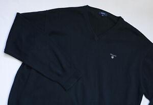 GANT Knitted Jumper men Pullover Sweater V-Neck top size 3XL XXXL black COTTON