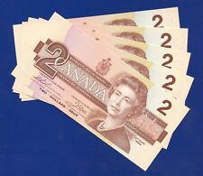 5 Canada 1986 2 Dollar Bank Notes UNC Consecutive S/N's EGG9921030 - 034