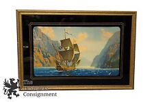 Vintage Seascape Sailing Ship Lithograph Print Sunset Cliffs Ocean Boat Vessel
