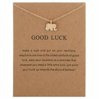 Lucky Elephant Pendant Necklace Good Luck Gift Lady Women Fashion Jewelry