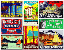 LUGGAGE STICKERS, 1 Sheet, 8 Hotel Label REPRODUCTIONS for Travel Journal Decor
