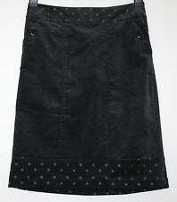 *WHITE STUFF* GORGEOUS PLUSH CHARCOAL VELVET SPOT STRETCH SKIRT SIZE 8/10