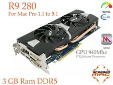  Radeon R9 280 for Mac Pro 3.1 ~ 5.1 AMD  3GB Ram GDDR5, GPU 940Mhz, 4k,  Metal