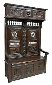 Antique Bench,Hall, French Breton Ely-Monbet Carved Oak, Brittany, Canopy,1800s