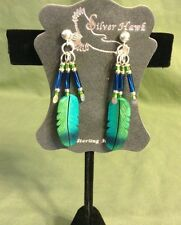 Silver Hawk Hand Crafted Earrings Bone Feather Green Violet Eared Humming Bird