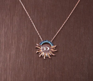 SUN TURQUOISE ROSE GOLD COLORED OVER .925 STERLING SILVER NECKLACE #32385