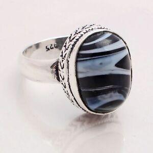 Botswana Agate Gemstone Ethnic Style Jewelry Handmade Ring Size 8.5 RG-9611