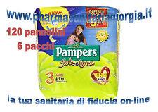 120 PANNOLINI PAMPERS SOLE E LUNA TAGLIA 3 MIDI(4-9KG) 6 PACCHI DA 20 PEZZI CAD.