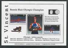 ST.VINCENT # 1641 BONNIE BLAIR, OLYMPIC CHAMPION Souvenir Sheet