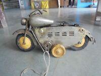 Vintage Unique Silver Color Wind Up Solid Motorcycle/Bullet Bike Tin Toy,Japan?