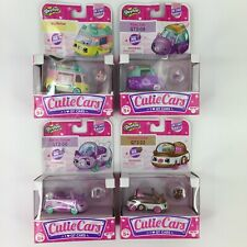 Lot of 4 Shopkins Cutie Cars Icy Roller Ballet Coupe Kissy Cab Chase Cookie NEW