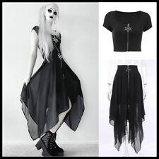 Halloween Women Black Slim Star Zipper Short Sleeve T-Shirt Short Tights Tops