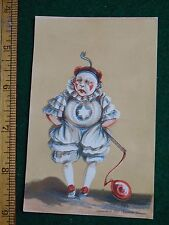 1870s-80s Clown with Balloon Puffy Pants Face Painted Victorian Trade Card F34