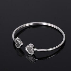 Michael Kors Silver Crystal Heart Logo Cuff Bangle Bracelet